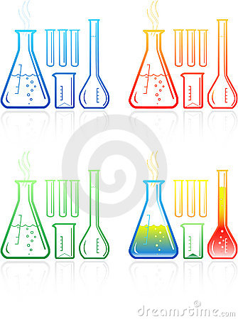 Free Vector Chemical Test Tubes Icons Royalty Free Stock Images - 8057109