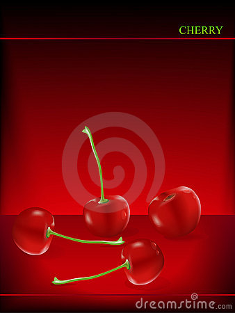 Vector cherry on dark red background
