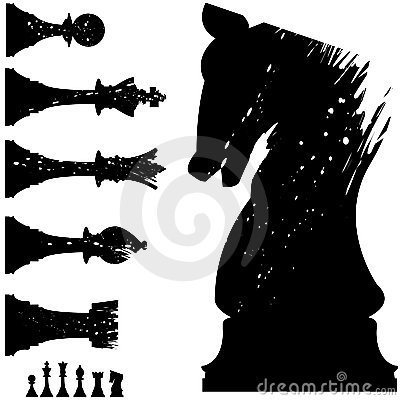 Free Vector Chess Pieces In Grunge Style Royalty Free Stock Photography - 8567267