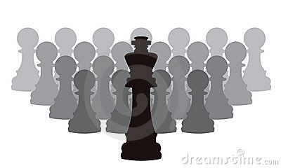 vector chess pieces of a king and pawns
