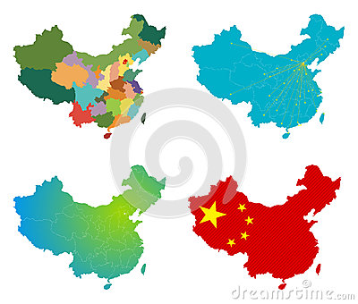 Vector China Map Set Royalty Free Stock Photo - Image: 28002345