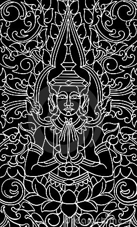 Vector of Chinese Traditional Artistic Buddhism Pa