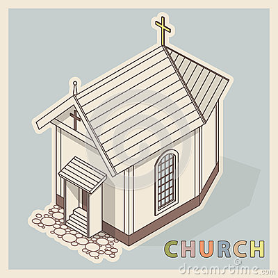 Vector Christian small church, isometric perspective, isolated on white background. Vector Illustration