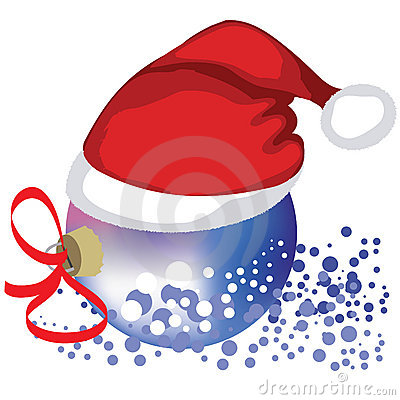 Vector Christmas bauble in hat Santa Claus