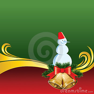 Vector Christmas Card with Bells and Snowman