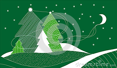 Vector Christmas Card with Four Christmas Trees