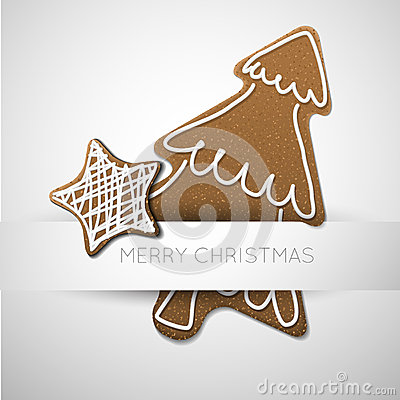 Vector Christmas card with gingerbreads