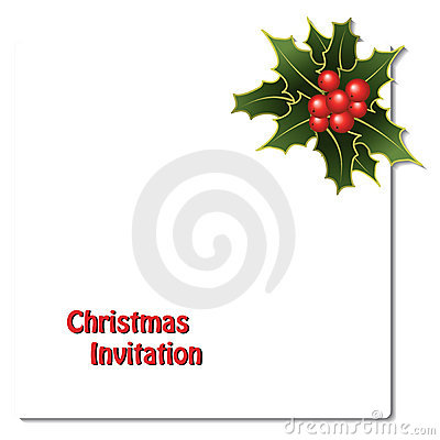 vector Christmas card with holly branches