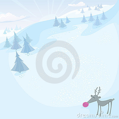 Vector Christmas card with Rudolph