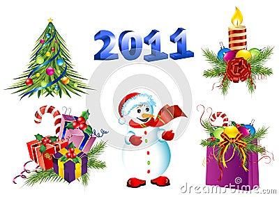 Vector christmas decoration icon set