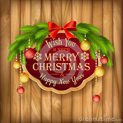 Vector Christmas garland, frame, balls background