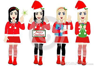 Vector Christmas Girl wearing Santa Suit