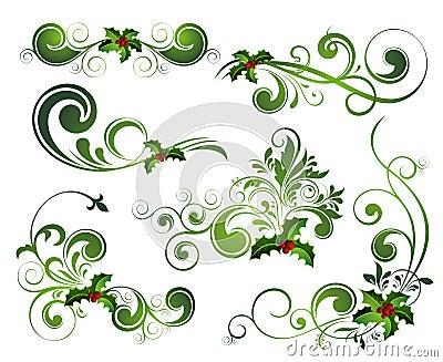 Vector Christmas holly set