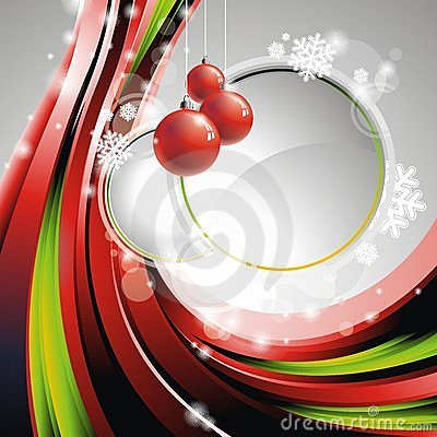 Vector Christmas illustration with red glass balls