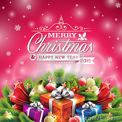 Free Vector Christmas Illustration With Typographic Design And Shiny Holiday Elements On Red Background. Royalty Free Stock Photos - 45419918