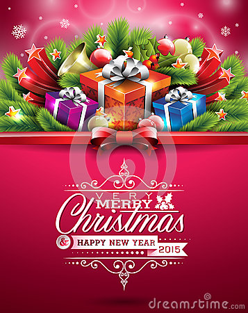 Free Vector Christmas Illustration With Typographic Design And Shiny Holiday Elements On Red Background. Royalty Free Stock Photography - 45420047