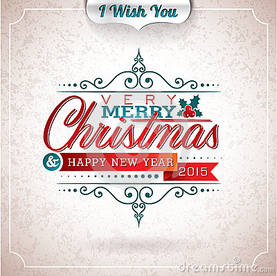 Free Vector Christmas Illustration With Typographic Design On Grunge Background. Stock Photos - 45331833