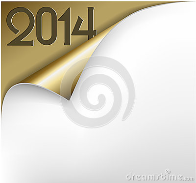 Vector Christmas New Year Card - Sheet of golden paper 2014