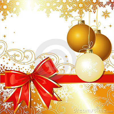 Free Vector Christmas Ornament With Bow And Snowflakes Royalty Free Stock Photography - 6073047