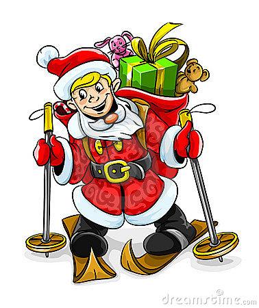 Free Vector Christmas Santa Boy With Gifts On Skis Stock Image - 6661821