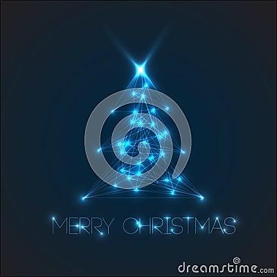 Vector christmas tree from digital lights