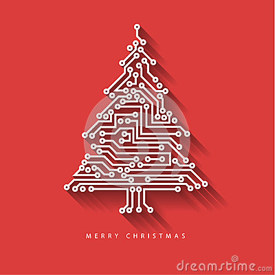 Free Vector Christmas Tree From Digital Electronic Circuit Stock Image - 47197761