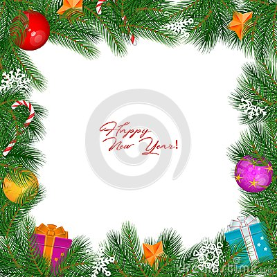 Vector Christmas Vintage Border Isolated On White Background Vector Illustration