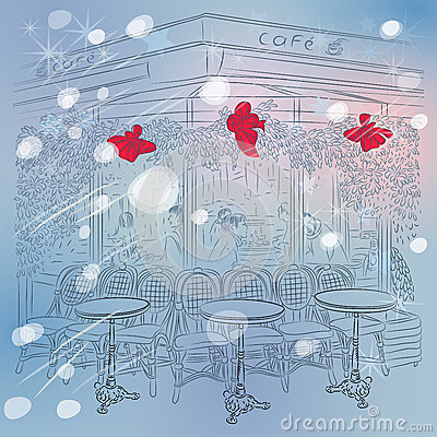 Free Vector Christmas Winter Sketch Of The Parisian Caf Stock Images - 34675814