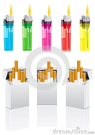 Vector cigarettes and cigarette lighter