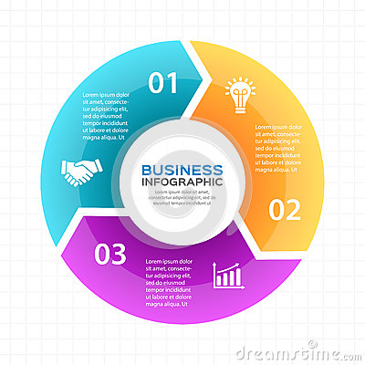 Vector circle arrows infographic, diagram, graph, presentation, chart. Business cycle concept with 3 options, parts Vector Illustration