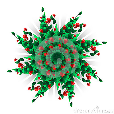 Vector circle background with many red flowers and green leaves