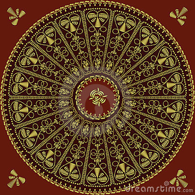 vector Circle lace pattern of gold embroidery