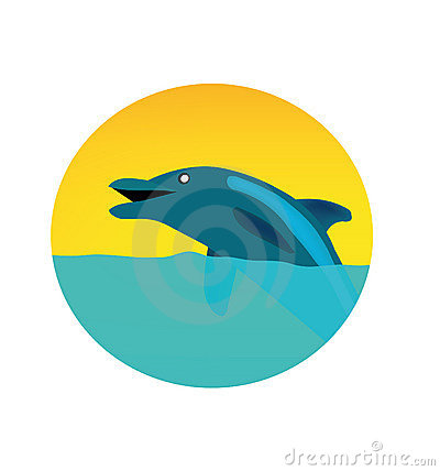 Vector circle logo with dolphin