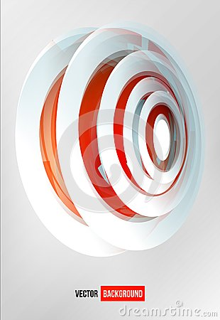 Vector circles abstract logo. Red and white