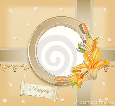 Vector  with circular  photo frame, lilies