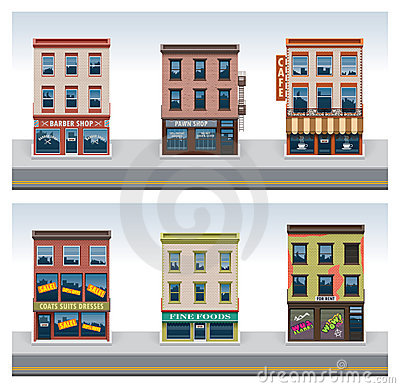 Free Vector City Buildings Icon Set Royalty Free Stock Image - 21002176
