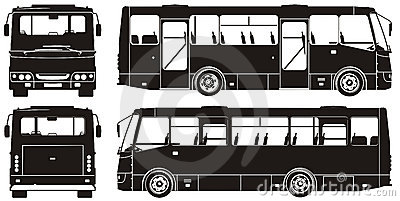Vector city bus silhouettes