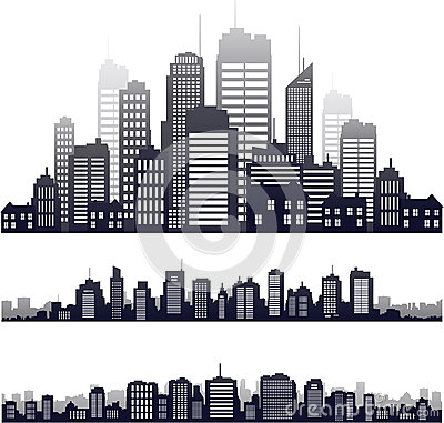 Free Vector City Silhouette Isolated On White Royalty Free Stock Images - 49743519