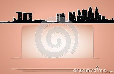 Vector city skyline card in retro style
