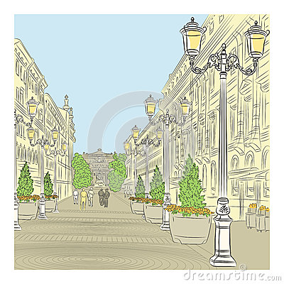 Vector Cityscape, the wide avenue with vintage bui