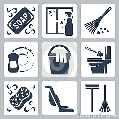 Free Vector Cleaning Icons Set Stock Images - 34988314