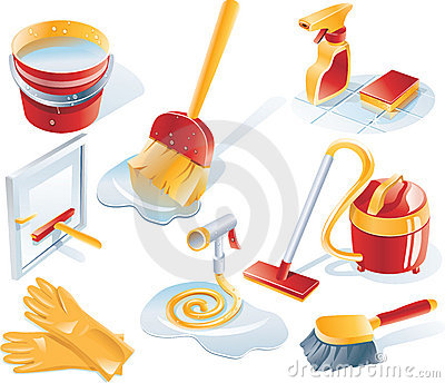 Vector Cleaning Service Icon Set Royalty Free Stock Image