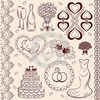 Vector clipart wedding, wedding decorations