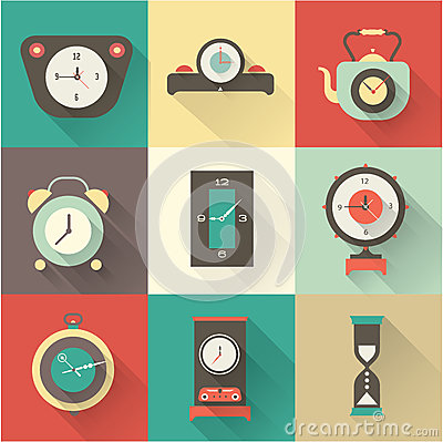 Vector clock icons set