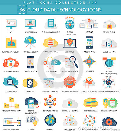 Free Vector Cloud Data Technology Color Flat Icon Set. Elegant Style Design. Stock Photography - 73575232