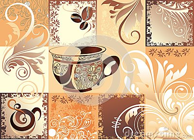 Vector coffee background with butterfly