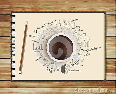 Vector coffee cup with notebook and drawing busine