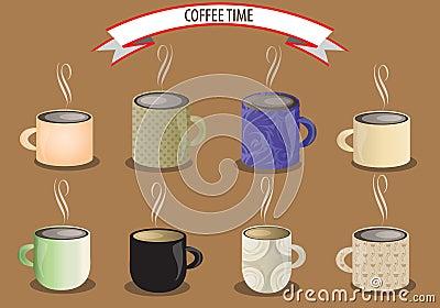 Vector coffee cup set