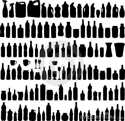 Vector collection of bottle silhouettes