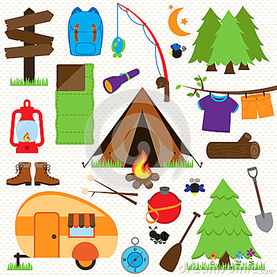 Vector Collection of Camping and Outdoors Themed Images Vector Illustration